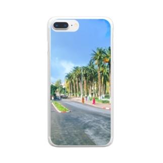 モロッコ:椰子の並木道 Morocco: Palm Tree-Lined Street Clear smartphone cases