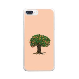 メルヘンなオレンジの木 Clear smartphone cases