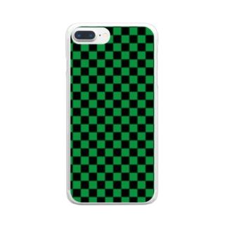 日本:市松模様緑 Clear smartphone cases