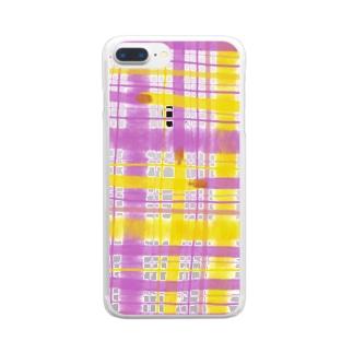 チェック(ピンク×黄色) Clear smartphone cases
