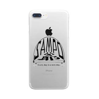 さんぽ爺鳥 黒文字 Clear smartphone cases