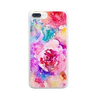 手描き水彩画☆カラフルローズ薔薇(バラ) Clear smartphone cases