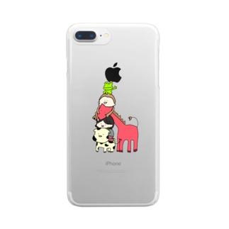 牧場のトーテムポール(背景なし) Clear smartphone cases