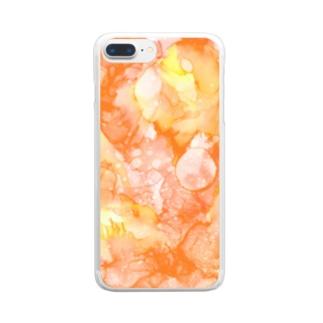 百花繚乱-橙 Clear smartphone cases