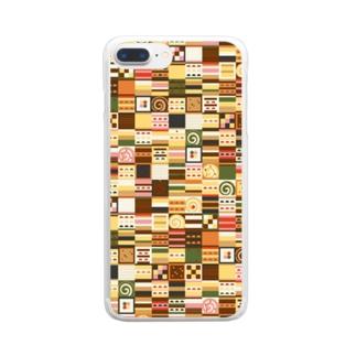 ケーキの幾何小町 北欧系 レトロ オータム色 Clear smartphone cases