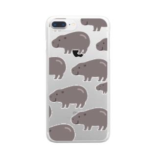 たくさんコビトカバ Clear smartphone cases