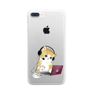 在宅勤務のプロ、その名は猫。 Clear Smartphone Case