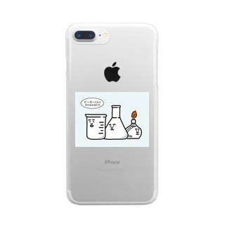 ビーカーくんとそのなかまたちロゴ Clear smartphone cases
