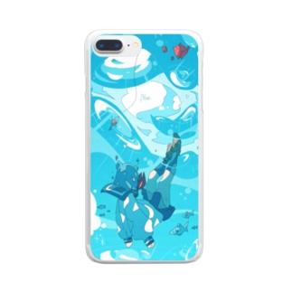 「青に沈む。」 Clear smartphone cases