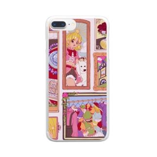 外ハネアイドルガール Clear smartphone cases