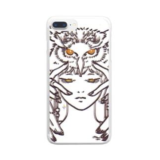 フクロウガール Clear smartphone cases