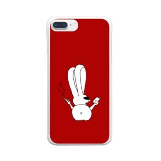 ちょいワルうさぎ 赤 Clear smartphone cases