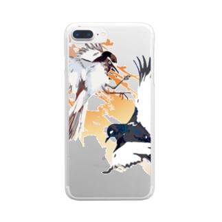 和風のセグロセキレイ Clear smartphone cases