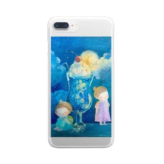 夜空色のクリームソーダ  お月さまを添えて Clear smartphone cases