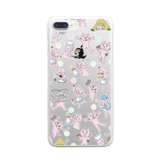ピンク猫 Clear Smartphone Case