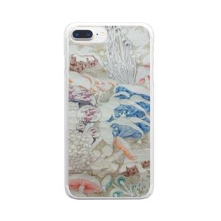 きのこ線描き Clear smartphone cases