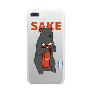 ツキノワグマと日本酒 Clear smartphone cases