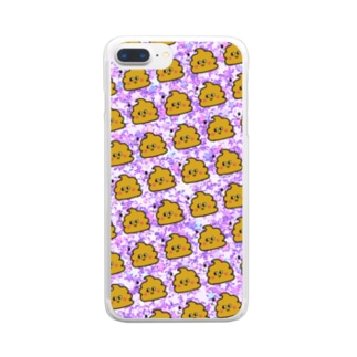 うんちゃんスマケー ピンク Clear smartphone cases
