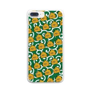 うんちゃんスマケー 和柄 Clear smartphone cases