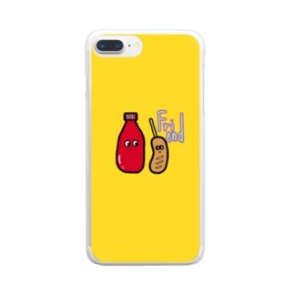 フレンド スマケー イエロー Clear smartphone cases