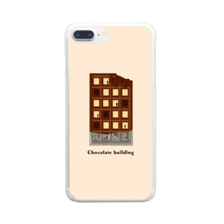 Chocolate building(beige) Clear smartphone cases