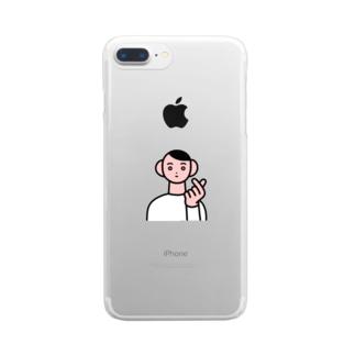 指ハート Clear smartphone cases