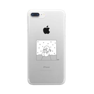 恥ずかしがり屋の女の子 白雪 Clear smartphone cases