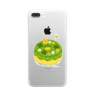 抹茶の原っぱシフォンケーキ Clear smartphone cases
