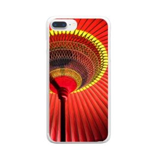 和傘(野点傘)柄のスマホケース Clear smartphone cases