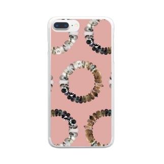 うさぎの輪 ピンク Clear smartphone cases