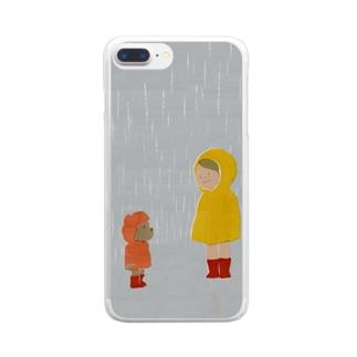雨宿り Clear smartphone cases
