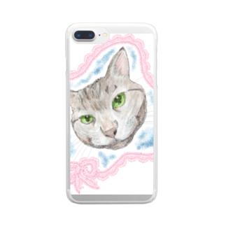 見つめるニャンコ Clear smartphone cases