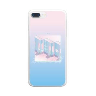 mayuの水色の街 Clear smartphone cases