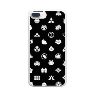 うさぎの家紋/黒 Clear smartphone cases