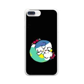 クマとクマでぐるぐるon黒 Clear smartphone cases
