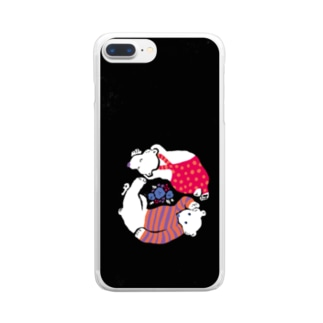 クマとクマがごろごろon黒 Clear smartphone cases