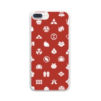 大賀一五の店のうさぎの家紋/赤 Clear smartphone cases