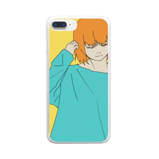 オレンジガール Clear smartphone cases