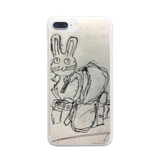 便所飯を強いられるウサ Clear smartphone cases