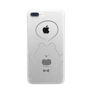 何か言ってる熊 Clear smartphone cases