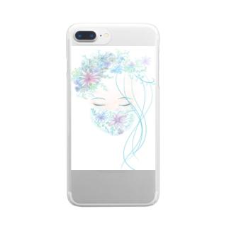 花マスク少女 Clear smartphone cases