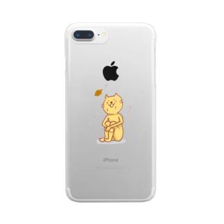 シクシクネコネコ 猫次郎くん Clear smartphone cases