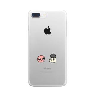 サカナカガワ/サカナショップのタコとアフロ頭のイカ Clear smartphone cases