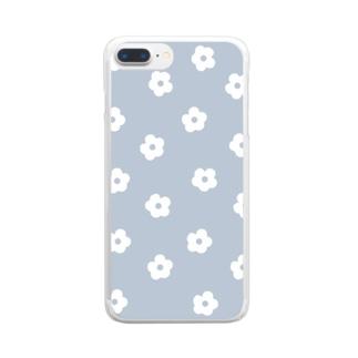 花柄/ブルー Clear Smartphone Case