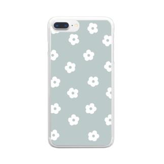 花柄/グリーン Clear Smartphone Case