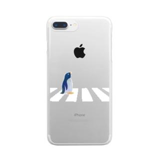 横断歩道に佇むペンギン 透明 Clear smartphone cases
