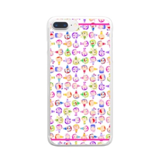Charlieカラフル背景ホワイト Clear smartphone cases