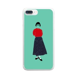 赤いサマーセーター Clear smartphone cases