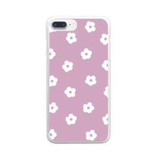花柄/ピンク Clear Smartphone Case