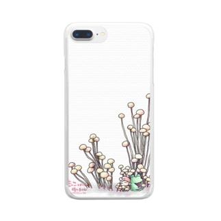きのこと小人と時々カエル(えのき茸) Clear smartphone cases